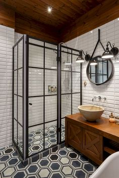Amazing Industrial Bathroom Design Ideas That Will Make You More Enjoy Industrial Bathroom, Bathroom Interior, Modern Bathroom, Bathroom Black, Master Bathroom, Mirror Bathroom, Bathroom Small, Bathroom Cabinets, Tile Mirror