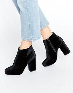New Look Velvet Heeled Ankle Boot