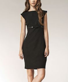 Look what I found on #zulily! Black Cap-Sleeve Dress by NIFE #zulilyfinds