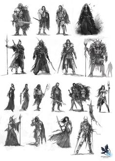 Different warrior type characters - with weapons and clothing - great for character design and as drawing reference