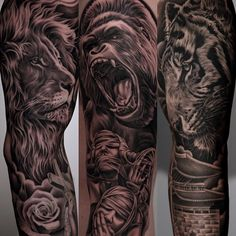 «Face off recap. Lion, gorilla, tiger - in a fight who would win? @monarcstudios  #juncha #blackandgrey #tattoo #monarc #beastmode»