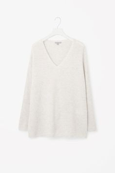 COS image 2 of Waffle knit cashmere jumper in Taupe