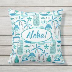#pillow #outdoor #cushion #blue #homedecor #midcentury #midmod #mcm #modern #retro #atomic #tropical #tiki #hawaiian #hawaii #summer #beach #vacations #miavaldez #zazzle