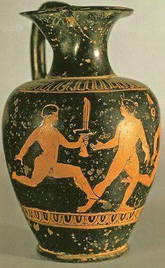 CARRERA CON LAS ANTORCHAS. Ceramica, s. V a. C., conservada en el Museo de Louvre.