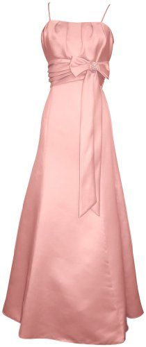 50's Style Long Satin Prom Dress Bridesmaid Gown With Bow Junior Plus Size, 1X, Pink, $73.99.  Its just sooo beautiful