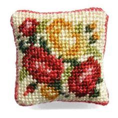 Summer Roses dollhouse needlepoint cushion kit