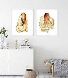 Nautical Wall Decor, Coastal Wall Art, Nautical Home, Wall Art Sets, Wall Art Prints, Octopus Illustration, Octopus Wall Art, Fine Art Paper, Giclee Print