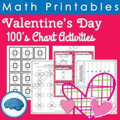 Valentine's 100's Chart Activities - Get a chance to win this pack! .  A GIVEAWAY promotion for Valentine's Day Math Printables 100's Chart Activities from Selma Dawani on TeachersNotebook.com (ends on 1-19-2014)