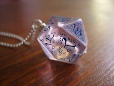 New version of blue elven D20 dice pendant by MageStudio, $25.00 #dice #D20