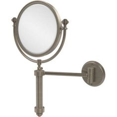 Southbeach Collection Wall-Mounted Make-Up Mirror, 8 inch Diameter with 2x Magnification (Build to Order), Silver