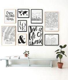 Cuadros Decorativos con Marco Family Wall Decor, Home Decor Wall Art, Home Art, Aesthetic Room Decor, Bedroom Art, Wall Art Sets, New Room, Frames On Wall, Decoration