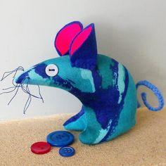 Retro Mouse - Vintage blue atomic 50s 60s fabric £9.00