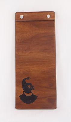 Wood check presenter with screws. Check Presenter, Wood Menu, Menu Boards, Fort Collins, Custom Wood, Walnut Wood, Custom Engraving, Joker, Presents