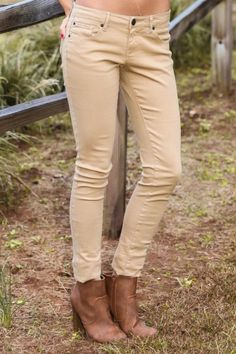 Tan Jeggings! A closet staple piece! Colored jeggings are a must have! Perfect for any winter outfit! Love!