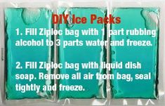DIY ice packs - I need this so bad, my jaw hurts like hell and is so swollen, I can't stand this pain..effing wisdom teeth extractions....