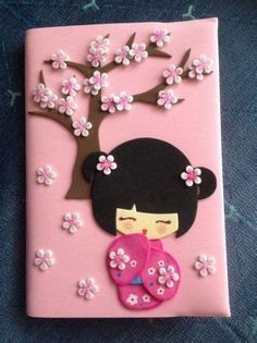 Handmade Crafts, Diy And Crafts, Crafts For Kids, Arts And Crafts, Foam Crafts, Paper Crafts, Notebook Cover Design, Kokeshi Dolls, Decorate Notebook
