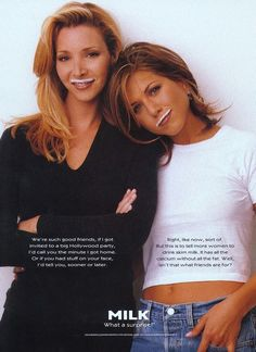 "Lisa Kudrow & Jennifer Aniston ""Got Milk?"" ad campaign 1995...fun throwback!"