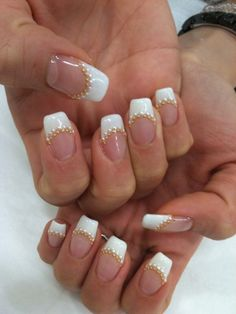 French tip with gold beads