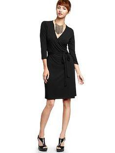 Solid Wrap Dress (True Black). Gap. $54.95