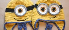 Repeat Crafter Me: Crochet Minion Hat Pattern. A fun project after teaching my daughter how to crochet. Minion Crochet, Crochet Kids Hats, Crochet Beanie, Crochet Crafts, Yarn Crafts, Free Crochet, Knit Crochet, Ravelry Crochet, Irish Crochet