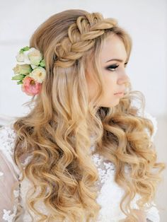 Wedding hairstyle - curly half up half down braid - Brides of Adelaide