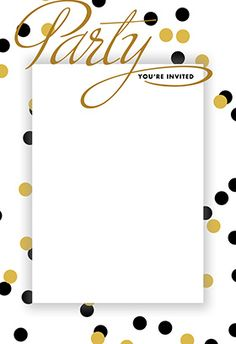 """""""House party dots"""" printable invitation. Customize, add text and photos. print for free!"""