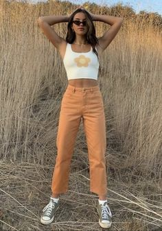 vintage outfits Afends Womens Shelby - Twill High Waist Wide Leg Jeans - Mango - Afends US Aesthetic Fashion, Aesthetic Clothes, Look Fashion, Aesthetic Outfit, Aesthetic Women, Aesthetic Gif, Summer Aesthetic, Jeans Fashion, Blue Aesthetic
