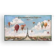 Ballooning Over Paris BW Tapestry