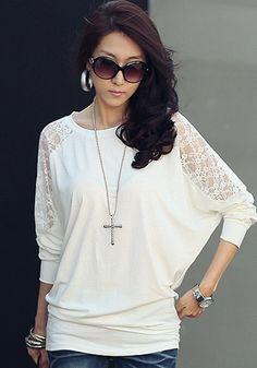 Weiß Patchwork Spitze Dolmanärmel T-Shirt