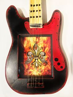 3D Flame & Cupid Guitar $350.00 #candicealexander #louisiana #nola  #guitar #3dart #flame