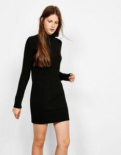 Vestido algodón cuello perkins - Vestidos - Bershka España