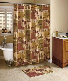 Northwoods Mountain Lodge Shower Curtain Hooks Pinecone Cabin Moose Woodland Rug