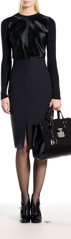 gucci. love the top and skirt. stunning. ignore the bag and shoes. corporate fashion. CORMONY.