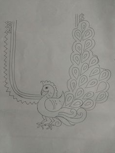Image may contain: drawing Peacock Embroidery Designs, Hand Embroidery Design Patterns, Kurti Embroidery Design, Hand Work Embroidery, Embroidery Motifs, Magam Work Designs, Kutch Work Designs, Hand Work Blouse Design, Simple Blouse Designs
