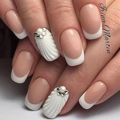 36 New French Manicure Designs To Modernize The Classic Mani - Nail Designs - French Nails, French Manicure Nail Designs, 3d Nail Designs, Pedicure Designs, Manicure E Pedicure, French Manicures, Nails French Design, Summer French Manicure, Fall Pedicure