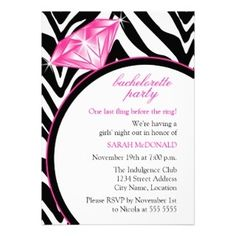 zebra print bridal shower invitations | Zebra Print & Ring Bachelorette Party Invitation | Bridal Shower ...
