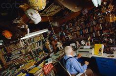 Ray Bradbury at home at the typewriter 1980-2001