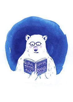 "I am a Survivor Polar bear global warming handbook by yeohghstudio. ""It's about time to save our planet and polar bears!!! """