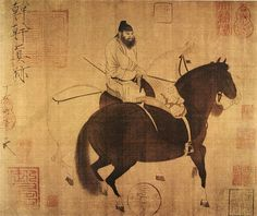 Painted by the Tang Dynasty artist Han Gan - 唐-韩干-牧马图-台北故宫