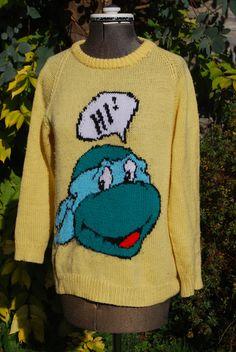 Teenage Mutant Ninja Turtles -Vintage Knitted Jumper - Yellow - Leonardo - TMNT - OOAK - Small Size. £55.00, via Etsy.