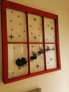 Old Window with Santa and Sleigh Scene                                                                                                                                                                                 More