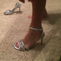 NEW Antonio Melani Silver Jewel Strap Prom Heels NEW, worn once!!! Perfect for prom, homecoming, or formal! ANTONIO MELANI Shoes Heels