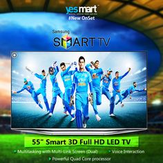 """Buy #Samsung 55 inch """"Smart 3D #TV"""" with all amazing modern technology features. Now available @YesMart stores. Visit your nearest #YesMart store today, to buy this Latest Samsung #Smart TV for your smart home :) For more info Visit – www.yesmart.in"""