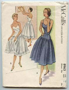 1950s McCalls 8963 Dropped Waist Slip Full Skirt Optional Ruffled Hem Vintage Sewing Pattern Bust 34 by GreyDogVintage on Etsy