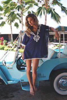 Beach inspiration #navy #white #tunic #beachcoverup #beach #summer #embroidery #hair #fashion