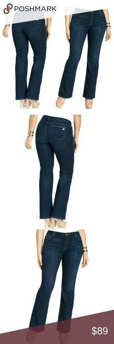 MICHAEL KORS Logo Plus Size Bootcut Blue Jeans NWT A sleek fit defines MICHAEL Michael Kors' plus size bootcut jeans -- they're must-haves for sophisticated play!  Brand New With Tags  Slim fit through hips and thighs  Bootcut leg  Zip fly with single button closure  Stretch fit  Five-pocket styling  Dark wash with whiskering and fading  Approximate inseam: 32 inches  98% Cotton/2% Spandex  Machine washable  Retails for $99.50 Michael Kors Jeans Boot Cut