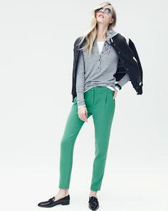 J.Crew women's Collection cashmere getaway hoodie, pleated crepe pant, Ray-Ban retro round sunglasses, and Golden Bear Sportswear for J.Crew varsity.