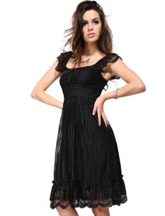 bb4617182b3 Ever Pretty Chic Black Lace Knee-length Double Layer Ruffles Cocktail Dress  02713