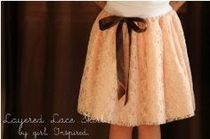 Tutorial: Layered lace skirt. Pretty. If only I could figure out how to make one for a pregnant belly.