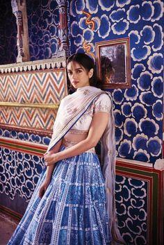 Bollywood actress Aditi Rao Hydari looking stunning in designer traditional ghagra-choli by fashion designer Anita Dongre. Indian Celebrities, Bollywood Celebrities, Bollywood Fashion, Bollywood Actress, Bollywood Style, Anita Dongre, Dress Indian Style, Indian Dresses, Indian Wedding Outfits